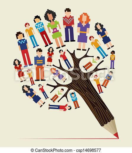 鉛筆, 概念, 多様性, 木, 人々 - csp14698577