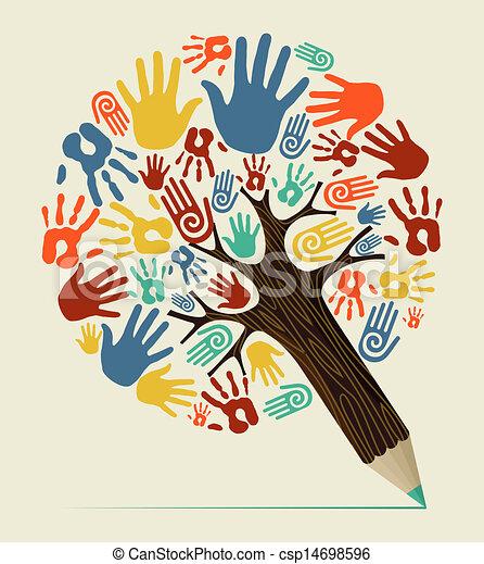 鉛筆, 概念, 多様性, 木, 手 - csp14698596