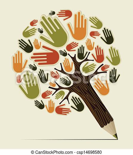 鉛筆, 概念, 多様性, 木, 手 - csp14698580