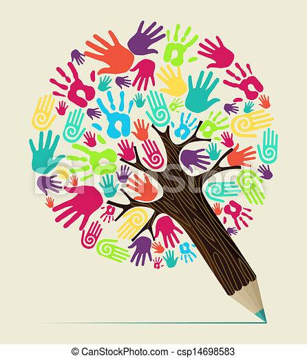 鉛筆, 概念, 多様性, 木, 手 - csp14698583