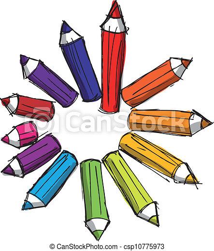 鉛筆, 略述, 上色, lengths., 插圖, 矢量, 各種各樣 - csp10775973