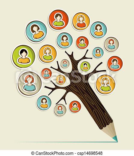鉛筆, 社会, 多様性, 木, 人々 - csp14698548