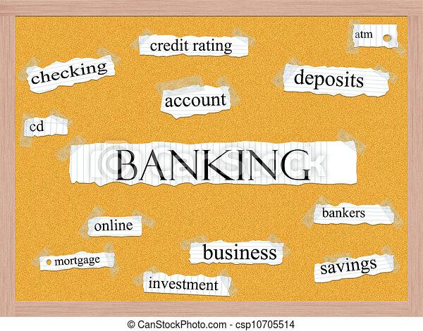 銀行業, 単語, 概念, corkboard - csp10705514