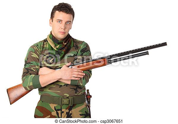 銃, カモフラージュ, 人 - csp3067651