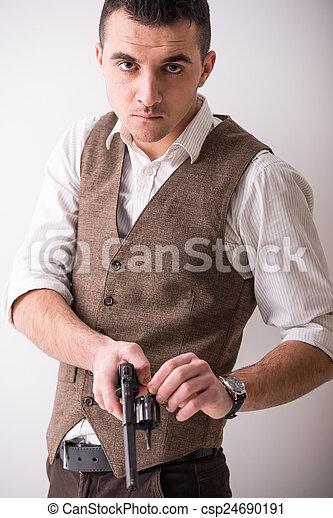 銃, 人 - csp24690191