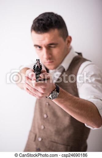 銃, 人 - csp24690186