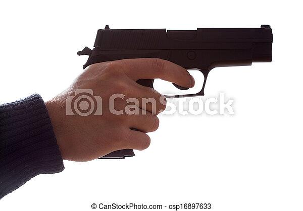 銃, 手を持つ - csp16897633