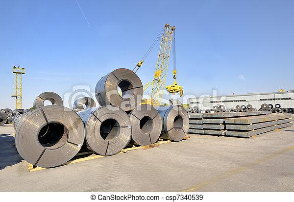鋼鉄, プレート, シート, 回転する, パックされた - csp7340539