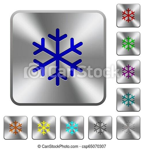 鋼鉄, 広場, 円形にされる, ボタン, 単一, 雪片 - csp65070307