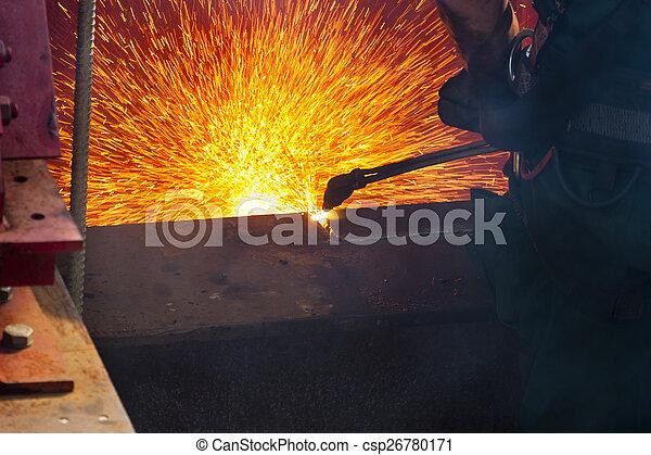鋼鉄, 梁, 切断 - csp26780171