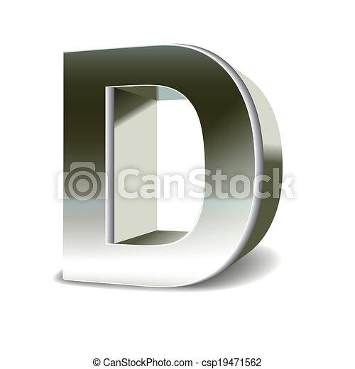 鋼鉄, 3d, d, 手紙, 銀 - csp19471562