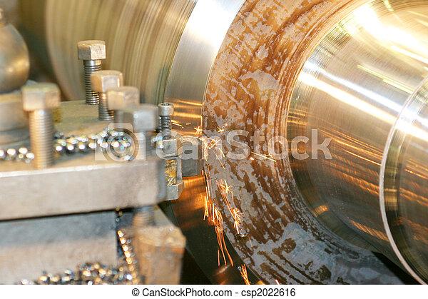 鋼, 不鏽純潔, 車床, 轉動 - csp2022616