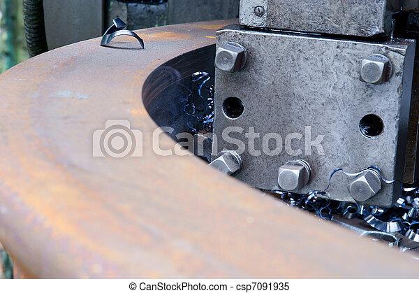 鋼, 不鏽純潔, 車床, 轉動 - csp7091935