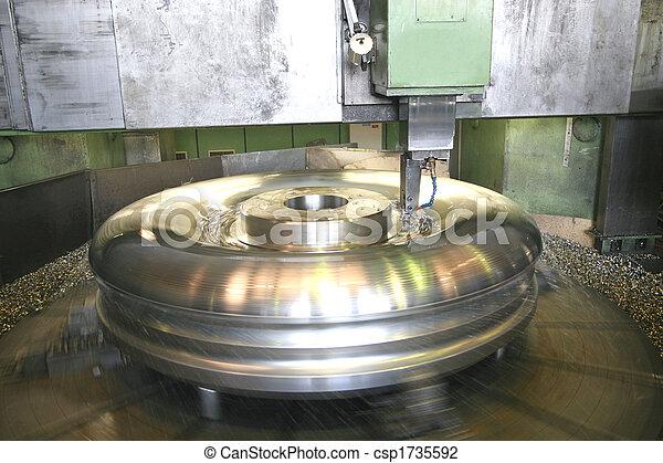 鋼, 不鏽純潔, 車床, 轉動 - csp1735592