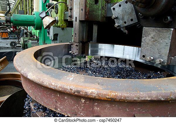 鋼, 不鏽純潔, 車床, 轉動 - csp7450247