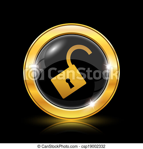 錠, 開いた, アイコン - csp19002332