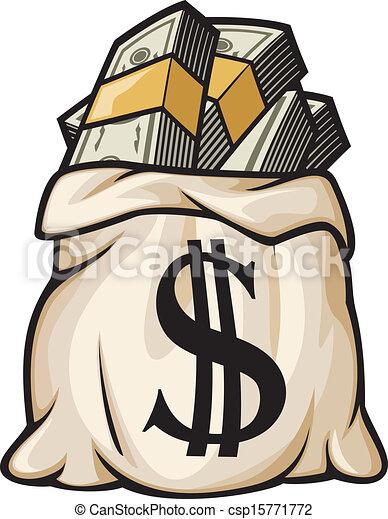 錢, 美元, 袋子, 簽署 - csp15771772