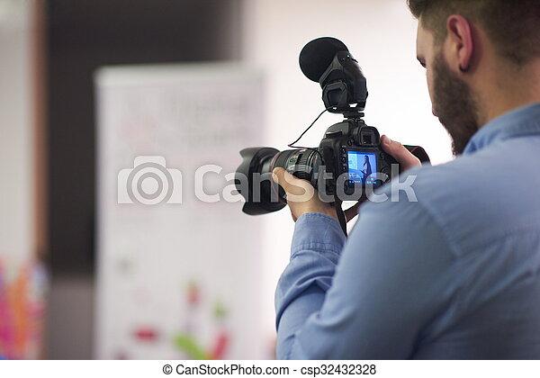 録音, 会議, videographer - csp32432328