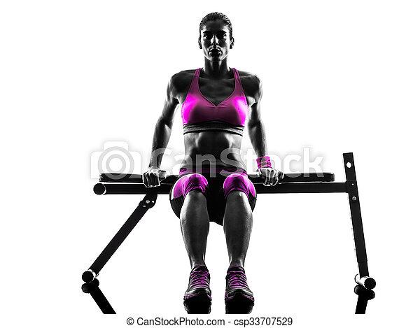 鍛煉, 婦女, 黑色半面畫像, 俯臥撐, 健身 - csp33707529