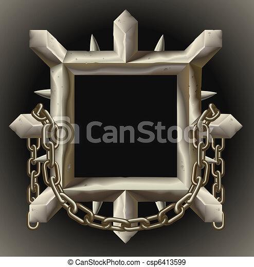 鎖, フレーム, とげとげである, 金属, 錆ついた, ボーダー - csp6413599