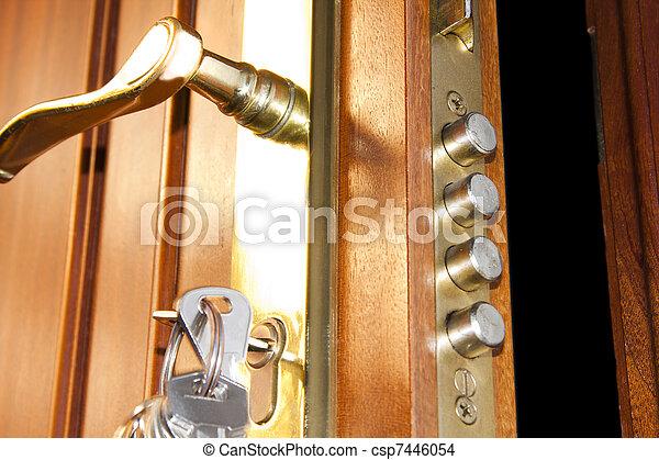 鎖, 安全, 門, 家 - csp7446054