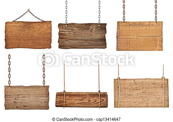 鎖, 木製である, 印, ロープ, 背景, 掛かること, メッセージ - csp13414647