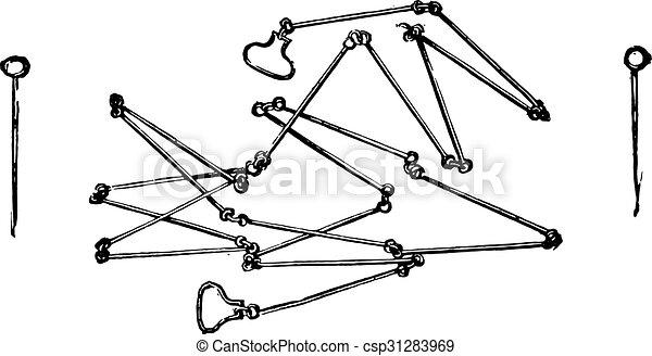 鎖, engraving., 型, 測量技師 - csp31283969