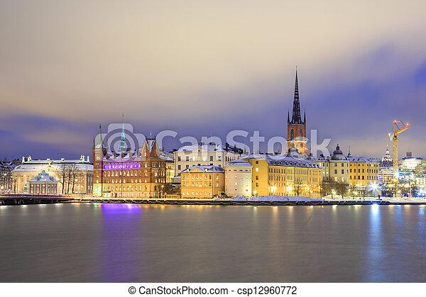 鎮, 城市, 老, 瑞典, 斯德哥爾摩, 夜晚 - csp12960772