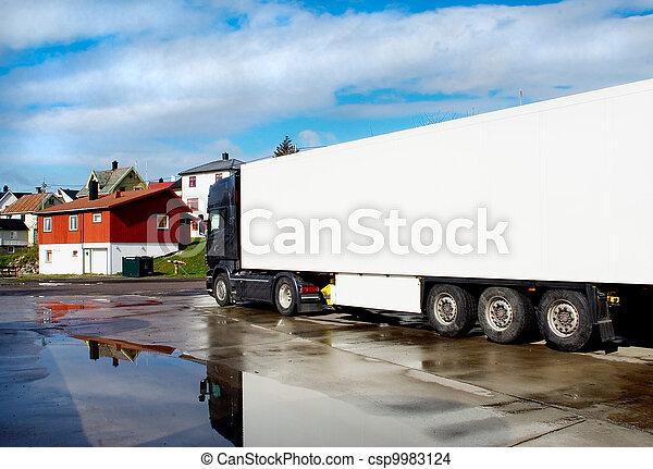 鎮, 街道, 在雨以后, 卡車, 小 - csp9983124