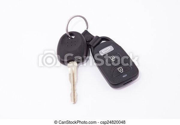 鏈子, 鑰匙, 小汽車警報, 黑色, 鑰匙 - csp24820048