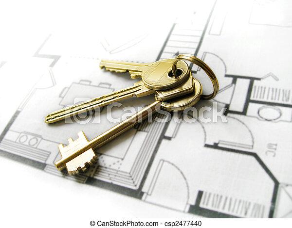 鑰匙, 家, 夢想, 金, 新 - csp2477440