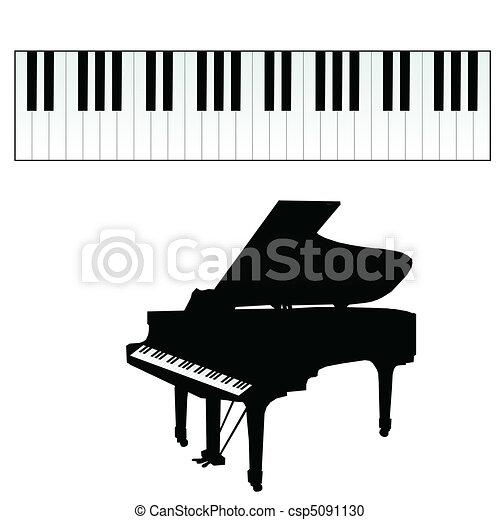 鑰匙, 鋼琴, 矢量, 插圖 - csp5091130