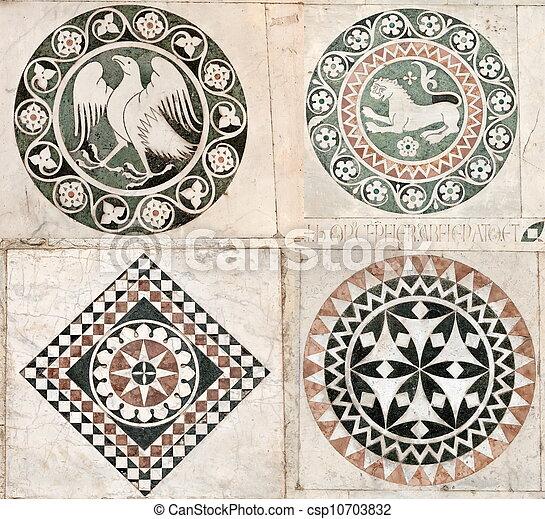 鑲嵌, 哥特式, 大理石, 裝飾品 - csp10703832