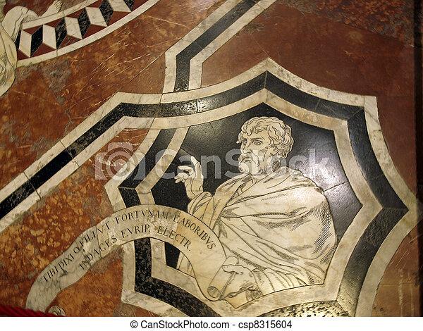 鑲嵌, 地板, duomo, 56, 壯麗, siena, 一, -, interior., 面板, 大理石, 蝕刻 - csp8315604
