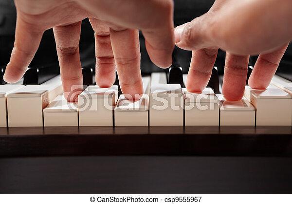 钢琴, 角度, 玩, 低 - csp9555967
