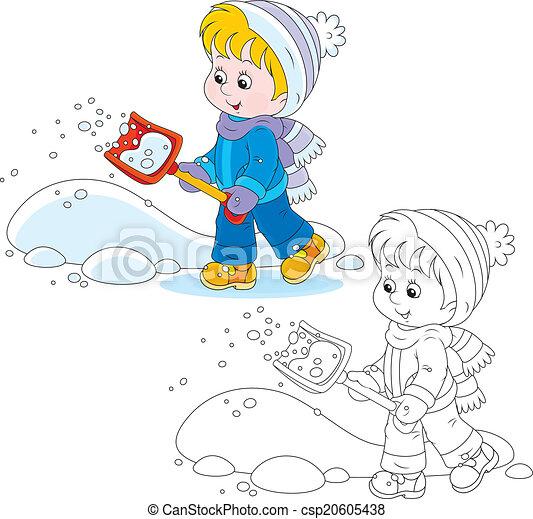 铁锨, 雪, 孩子 - csp20605438