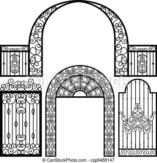 門, 入口, ドア, フェンス, 型 - csp6488147