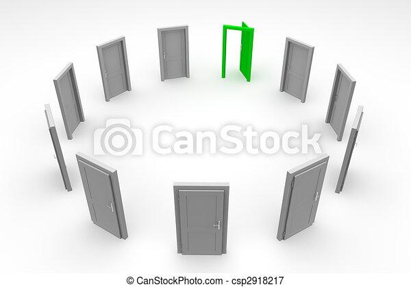 門, 環繞, -, 綠色, 打開 - csp2918217