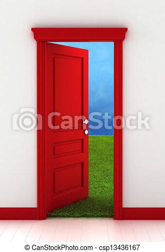 門, 紅色 - csp13436167