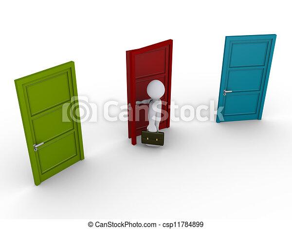 門, 選擇, 三, 一, 商人, 在外 - csp11784899