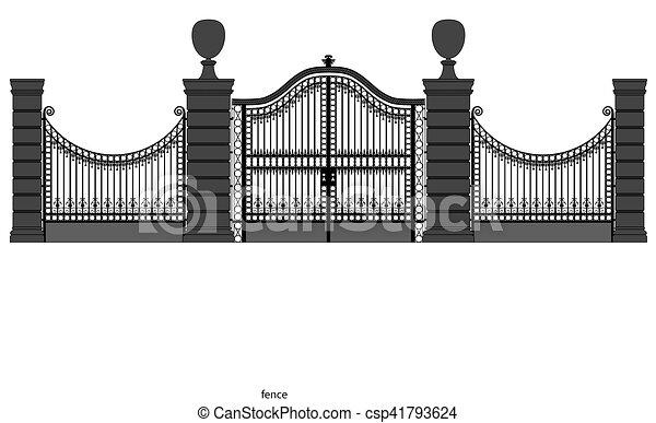 門, 鉄, イラスト, 細工された - csp41793624