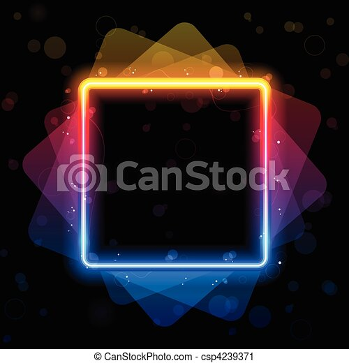 閃耀, 廣場, 彩虹, 邊框, swirls. - csp4239371