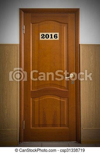 閉じられた, 木製である, オフィス, 数, ドア, 2016. - csp31338719