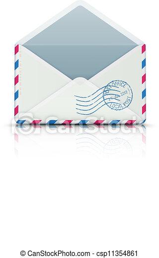 開いた, エアメール, ブランク, 封筒 - csp11354861