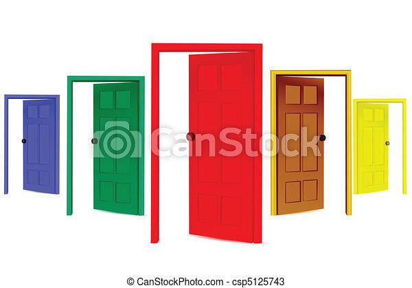 開いた, カラフルである, ドア - csp5125743
