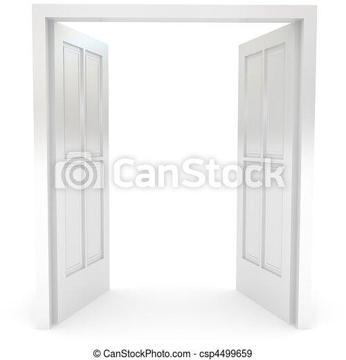 開いた, 上に, ドア, 白 - csp4499659