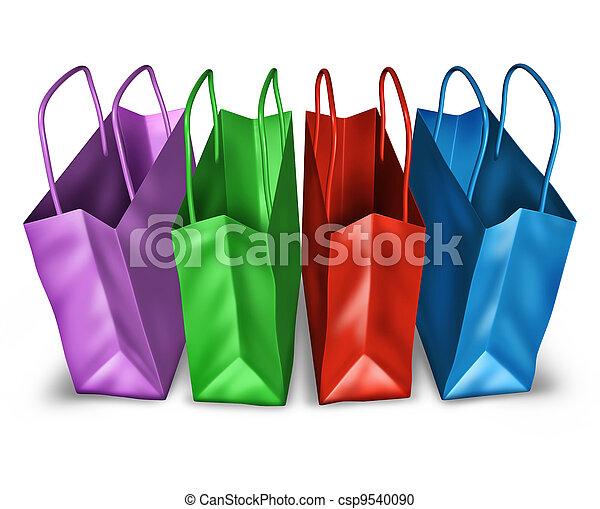 開いているトップ, 買い物袋, 光景 - csp9540090
