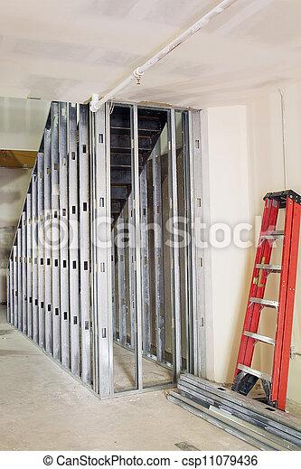 間柱, 金属, 枠組み, 階段 - csp11079436