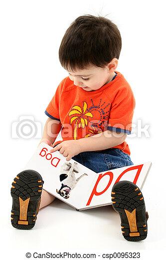 閱讀, 男孩, 書, 孩子 - csp0095323