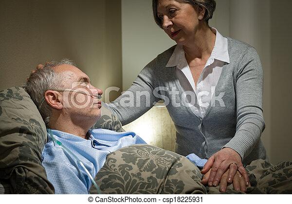 關心, 婦女, 擔心, 有病, 年長者, 丈夫 - csp18225931